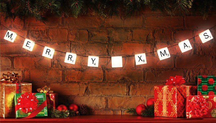 Scrabble Letter Lights on String